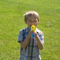 Kristofer brandishing his bubble gun