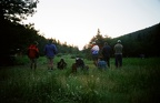 Taking the Wilderness Pledge at a 5 AM Sunrise. Pueblano camp. Shortly after scaring a black bear away from Pueblo Cabin.
