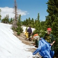 My first crew of the summer playing in the 6 feet of snow on the saddle of Baldy Mountain.  I was told that these Texan boys had