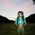 Ken Aldrich saying goodbye to another crew.  Time to start a 5:30 AM sunrise hike back into basecamp. Thats my map in my hip bel